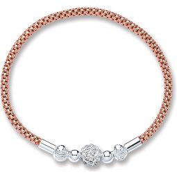 Silver Rose Pl. Mesh With Crystal Ball Bracelet