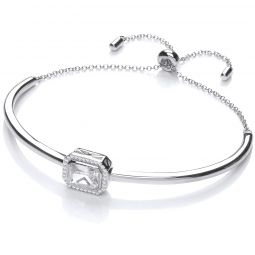 Silver Emerald Cut Cz Friendship Bracelet