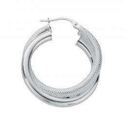 Silver Double Hoop Earrings 30.5 X 27mm