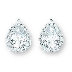 Silver Pear Shaped Cz Cluster Studs 9.5 X 13.5mm