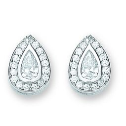 Silver Pear Shaped Cz Cluster Studs 10.0 X 14.0mm