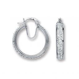 Silver Small Hoop Crystal Earrings 27.5 X 23.5mm