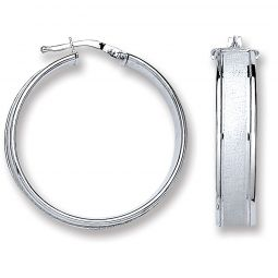 Silver Satin Centre Hoop Earrings 28.5 X 7.0mm