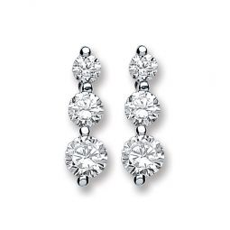 Silver And 3 Graduated Czs Stud Earrings