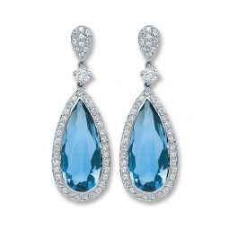 Silver Blue Cz Pear Shape Drop Earrings