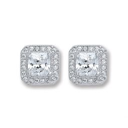 Silver Square Cz Stud Earrings