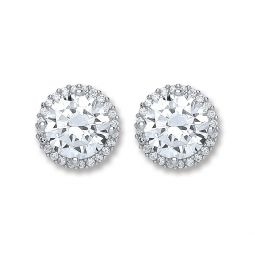 Silver Cz Round Stud Earrings