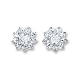 Silver Cz Cluster Stud Earrings