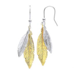 Silver & Gold Coated Feathers Drop Earrings