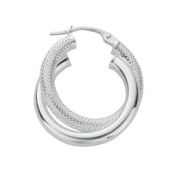 Silver Double Hoop Earrings 25.5 X 22.5mm