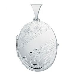Silver Engraved Oval Shaped Family Locket