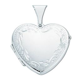 Silver Large Engraved Heart Shaped Locket