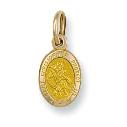 9ct Yellow Gold Oval Saint Christopher Protect Us Pendant