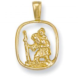 9ct Yellow Gold Cut Out St Christopher Pendant