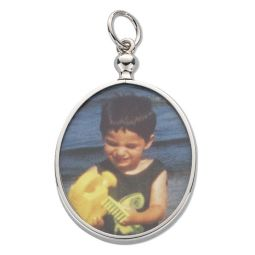 Silver Oval Picture Frame Pendant