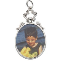 Silver Scroll Top Oval Picture Frame Pendant