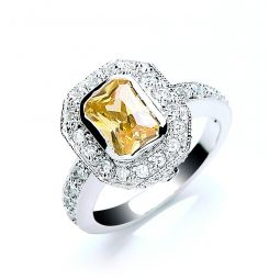 Silver Emerald Cut Yellow & White Cz Cluster Ring