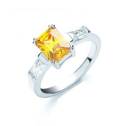 Silver Claw Set Amber Cz Solitaire Ring