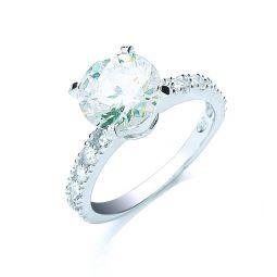 Silver Claw Set Cz Solitaire Ring