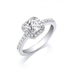 Silver Square Cz Ring
