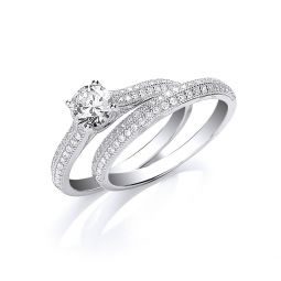 Silver Bridal Half ET with Cz in the Centre Rings