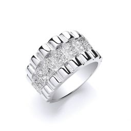 Silver Gents Cz Ring