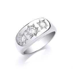 Silver Gents 3 Stone Cz Ring