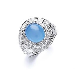 Silver Gents Blue Stone College Ring
