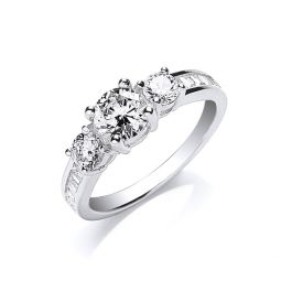 Silver Trilogy R Brilliant with Baguettes on Shoulder Ring
