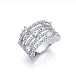 Silver Five Rows Round & Pear Shape Cz Ring