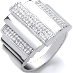 Silver Step Ring With CZ