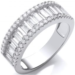 Silver Half Eternity Ring Set With Baguettes & Round CZ