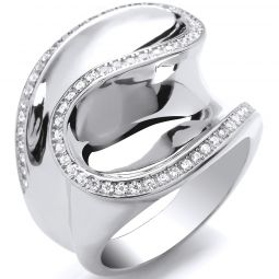 Silver CZ Frill Ring