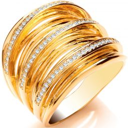 Silver Gold Plated CZ Multi Layer Ring