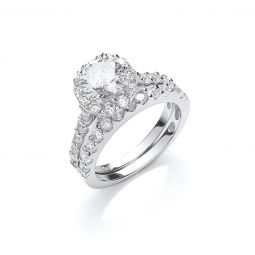 Silver Bridal Set Cz Rings