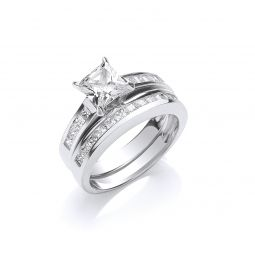 Silver Bridal Set Cz Princess Cut Rings