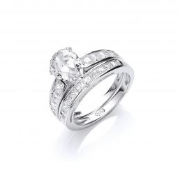 Silver Bridal Set, Pear Cz Centre Rings