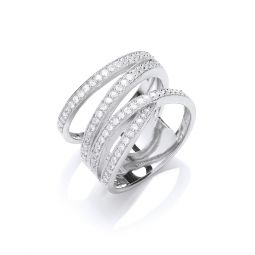 Silver Micro-Pave Multi Band Cz Ring