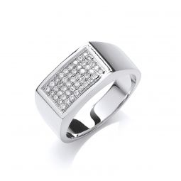 Silver Micro-Pave Cz Gents Ring