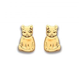 9ct Yellow Gold Cat Studs
