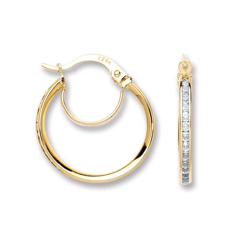 9ct Gold Channel Set Round Cz Hoops