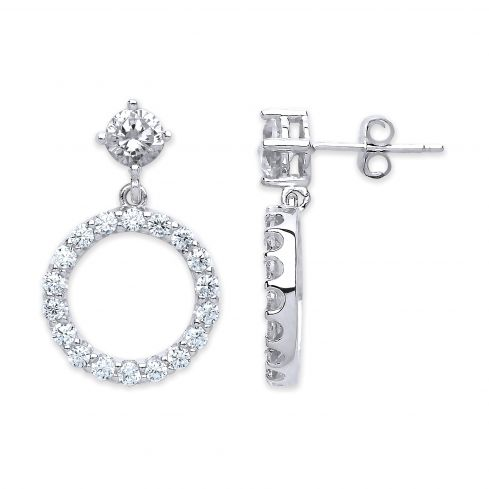 Silver Cz Circle Of Life Stud Earrings