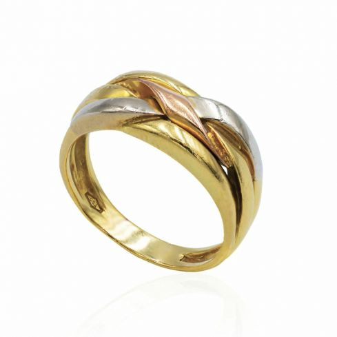 Pre-owned 3 Colour Gold Puzzle Style Ring