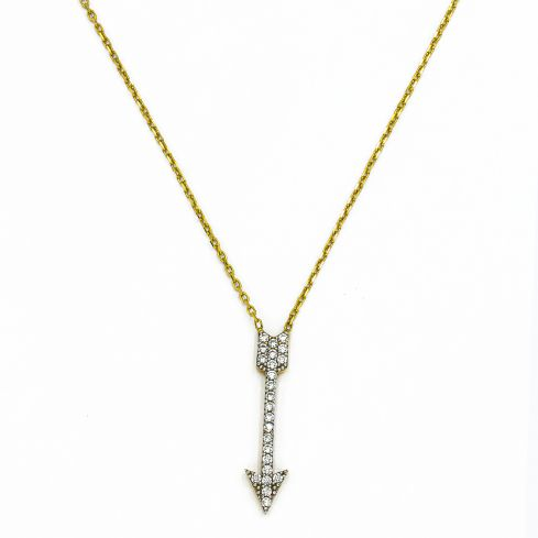 Pre-owned Chain With Cz Stones Set Pendant