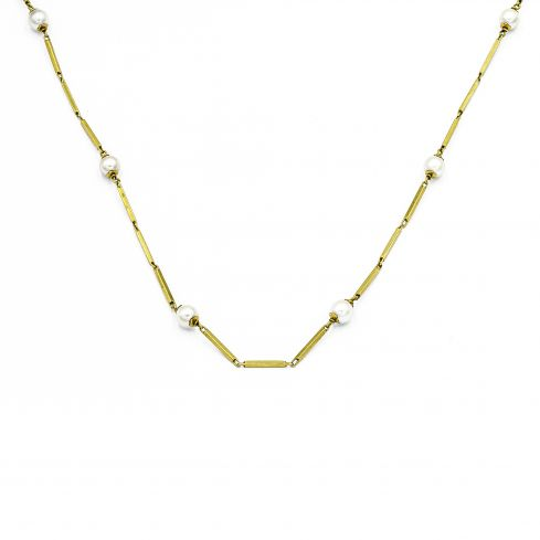 Pre-owned Chain With Pearls 18ct Gold