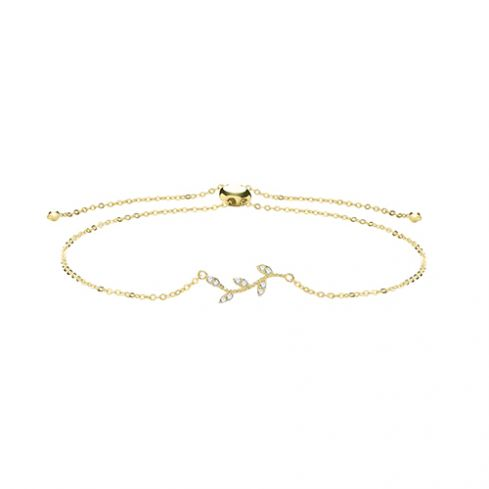 9ct Yellow Gold Cz Leaf Pull Style Bracelet