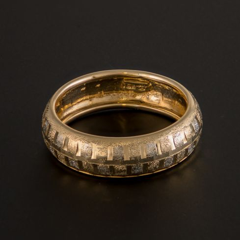 Pre-owned 9ct Gold Classic Patterned Ring - Size O Gold