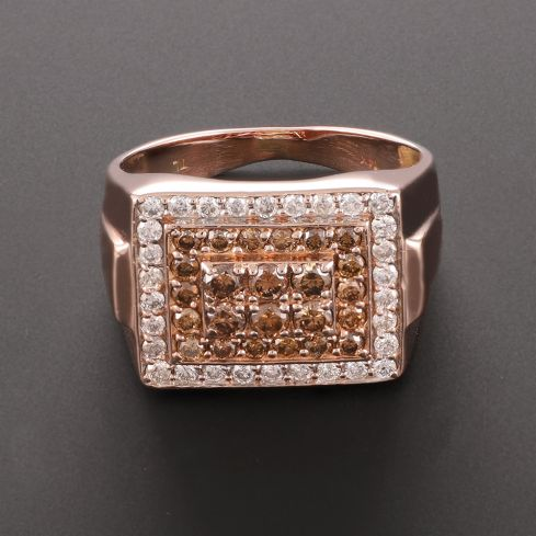 Pre-Owned 14ct Rose Gold Champagne Diamond Signet Ring - 11G Diamond Gold