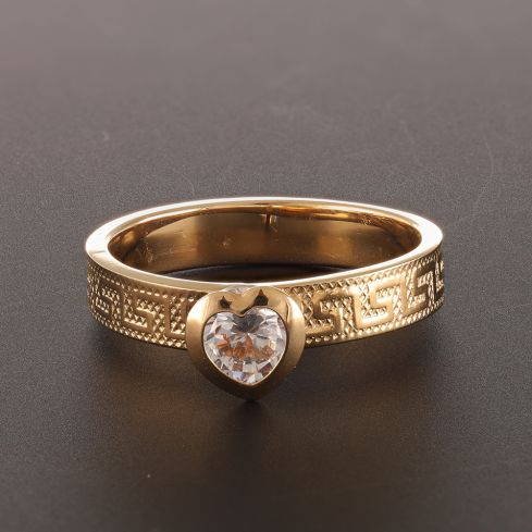 Pre-Owned 18ct Yellow Gold Heart Ring  - 1.5g Cubic Zirconia Gold