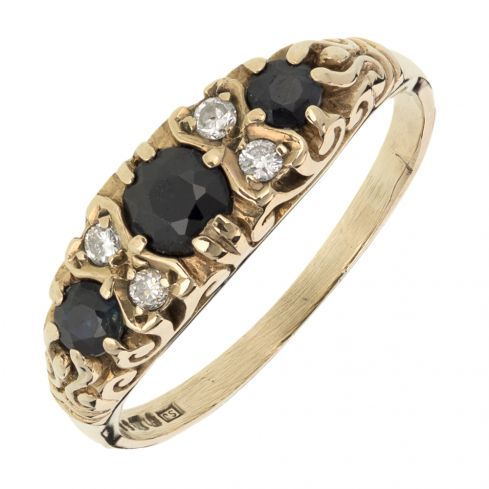 Pre-owned 9ct Gold Vintage Three stone Ring - Size P Sapphire Gold